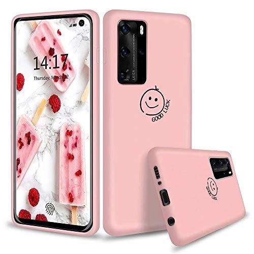KSHOP Kompatibel mit Hülle für Huawei P40 Pro 5G + inbegriffen Panzerglas Flüssige Silikon Ultradünn TPU Handyhülle Kratzer/Staubdichte Elegante Schutzhülle - Rosa