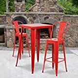 Flash Furniture Commercial Grade 4 Pack 30' High Red Metal Indoor-Outdoor Barstool with Removable Back