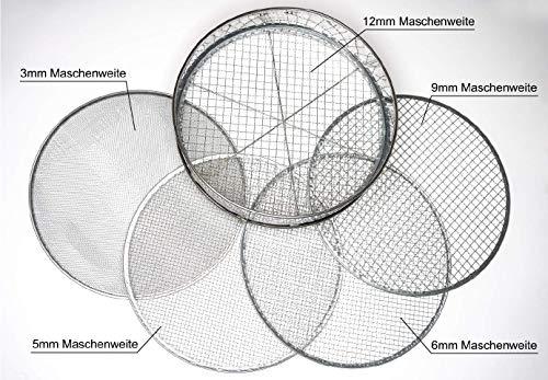 GreenTouch Siebhelden24 - Gartensieb/Erdsieb/Kompostsieb aus Edelstahl + 5 Verschiedene Siebeinsätze - aussieben von Erde Kompost- Aussehen von Saatgut
