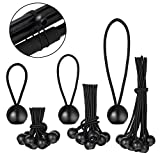 4 Inch 6 Inch 9 Inch Ball Bungee Canopy Cords 30 Pieces Tie Down Straps Black Bungee Cord Loop Straps for Securing Household Items, Automotive Items,Tarp Tie Down, Lacrosse, Soccer