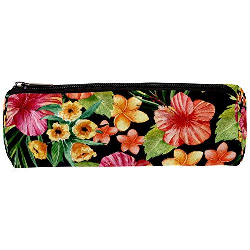 Estuche para lápices con diseño de flores tropicales, con cremallera, organizador de monedas, para mujeres, adolescentes, niñas y niños