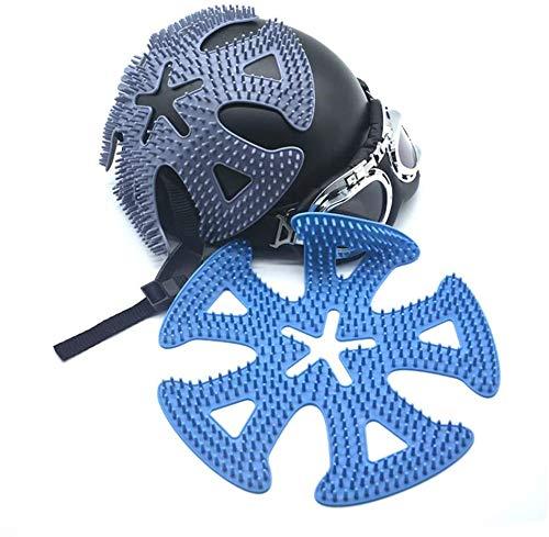 Gurxi Helm Schutzkissen Universal Silikon Helm Pads Helmpolster Ersatz-Pads Silikon Fahrradhelm Pad Wärmedämmung Atmungsaktiv Frisur Schützen für die Meisten Helme Motorrad und Fahrrad(Blau)