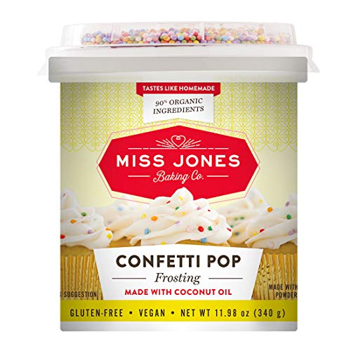 Miss Jones Baking 90% Organic Birthday Buttercream Frosting, Perfect for Icing and Decorating, Vegan-Friendly: Confetti Pop (Pack of 1)
