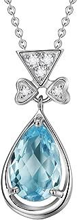 FANCIME Sterling Silver Genuine Blue Topaz Emerald Cut/Heart/Teardrop/Bear/Buck Halo Cubic Zirconia Pendant Necklace Dainty November Birthstone Fine Jewelry for Women 16