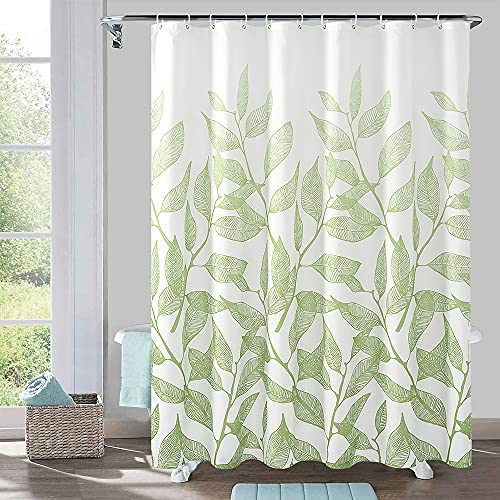 72 x 72 Fabric Shower Curtain for Bathroom, Waterproof Shower Curtain Machine Washable with Hooks, Polyester Bathroom Curtain, Green Leaves