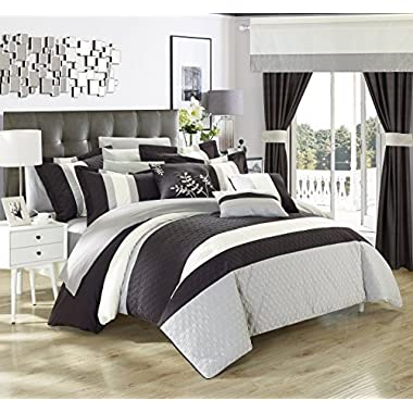 Chic Home Covington 24 Piece Comforter Set Embroidered Bed in a Bag - Sheets Curtains, Queen Black
