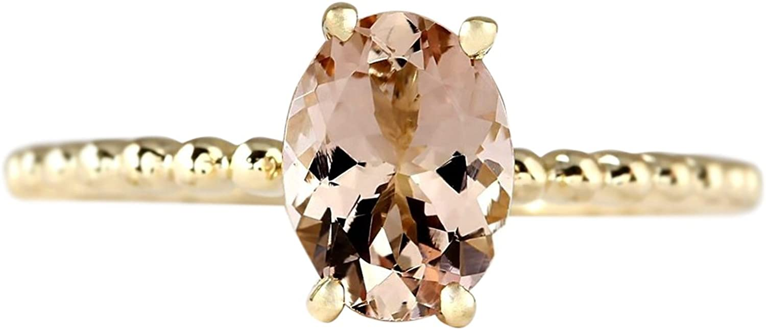 1.1 Carat Natural Pink Morganite 14K Yellow gold Solitaire Promise Ring for Women