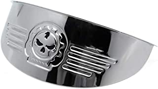 HTTMT - For Harley XL XLH FXR FX Chrome Gear Skull 7 Inches Headlight Visor Heavy Duty Thick [P/N: MT325-014A-CD-NEW]