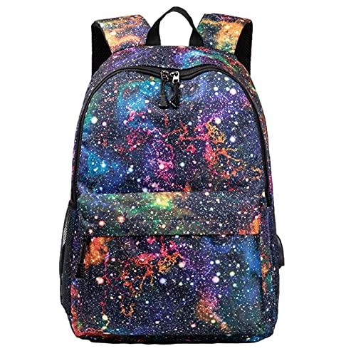 BeAteam - Mochila Galaxia, USB, mochila escolar, informal, peso ligero, negocio, mochila estudiante, para mujeres y hombres