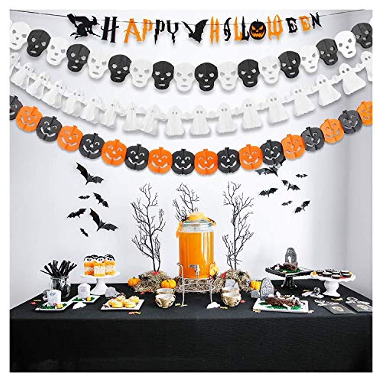 GiBot Halloween Banner Garland Happy Halloween Party Decoration Tissue Paper Garland Halloween String Banner,Pumpkin Ghost Skull Garland Banner,4 Pack