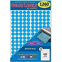 1260 3/4インチ ラウンドカラーコーディングサークルドットラベル ブライトブルー 8 1/2インチ x 11インチ シート あらゆるプリンターに対応