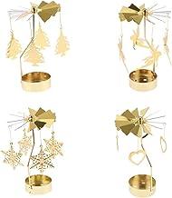 HOMYL Christmas Rotating Candleholder Tealight Candlestick Home Centerpiece Xmas Parties Decor 4-Set - 4-Set A