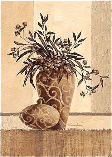Rahmen-Kunst Keilrahmen-Bild - Claudia Ancilotti: Kairo Leinwandbild Zweige Stillleben modern floral beige (50x70)