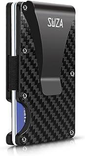 Carbon Fiber Minimalist Wallet for Men - RFID Blocking Credit Card Holder Metal Wallet- Money Clip Slim Front Pocket (Black)