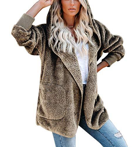 SMTM Damska kurtka z długim rękawem, sweter z dzianiny, srebrny lis, sweter z kapturem, sweter z dzianiny.
