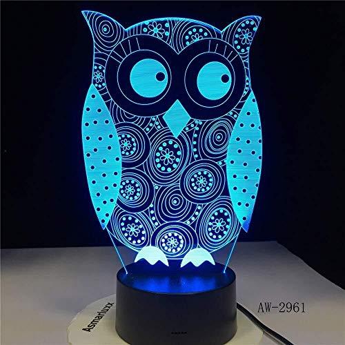 North cool Garçons Lumière De Nuit Eye 3D Owl Peeking Night Light 7 Couleurs Changement LED Lampe De Bureau Art Enfant Chambre Slee Décor De Fête De Vacances Cadeaux Lumières 3d Illusion