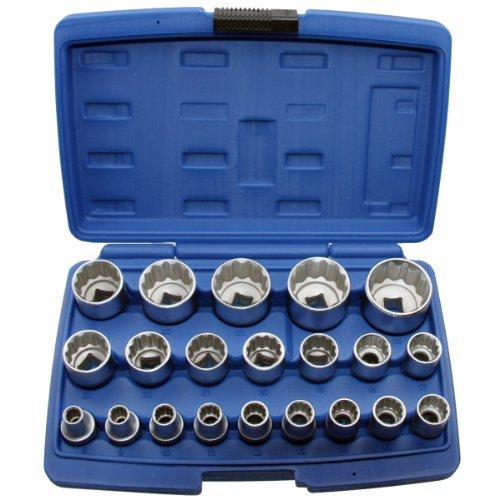 """ALKAN 2121 Steckschlüssel-Einsätze 21-tlg 8-36 mm Antrieb 1/2""""-(12.5 mm) 12-KANT/Zwölfkant Vielzahn Stecknüsse (Doppel-Sechskant) Schraubenschlüssel-Einsatz Inkl. robuste Kunststoffbox"""