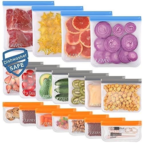 Dishwasher Safe Reusable Food Storage Bags 18 Pack ( 4 Reusable Gallon...
