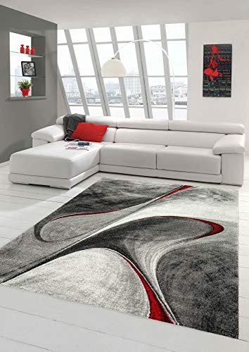 Teppich-Traum Alfombra Moderna Alfombra de diseño para Sala de Estar en Gris Rojo Größe 160x230 cm