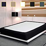 Update Box Spring Cover, Premium Elastic Wrap Around Bed Skirt for Hotel/Home, Mattress Protector Encasement, Black...