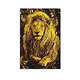 Poster, Motiv: Goldener Löwe, König der Löwen, moderne