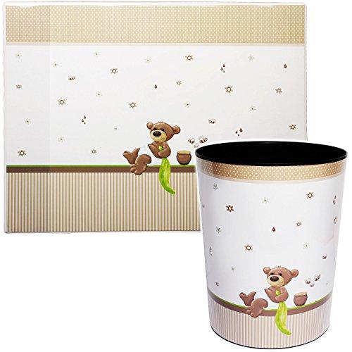 alles-meine.de GmbH 2 TLG. Set _ Schreibtischunterlage & Papierkorb -  süßer Teddybär - Honigbär  - Schreibtischset - aus Kunststoff - Mülleimer / Eimer - Tischunterlage / Knet..