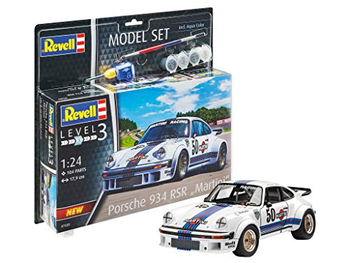 Revell- Model Set Porsche 934 RSR Martini Kit plástico, Multicolor, 1/100 (67685)