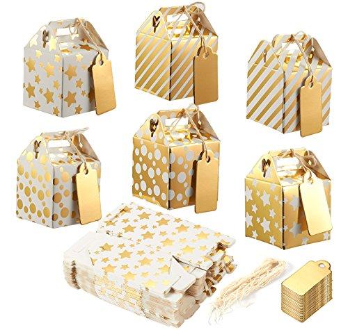 36 Stück Geschenkschachteln aus Pappe, Boxen für kleine Mitgebsel bei Partys, Geschenkboxen, Faltbare Schachteln mit Tragegriff und Giebel, gold, 36-Pack