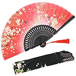 Sakura Wind Folding Hand Held Silk Fans for Women