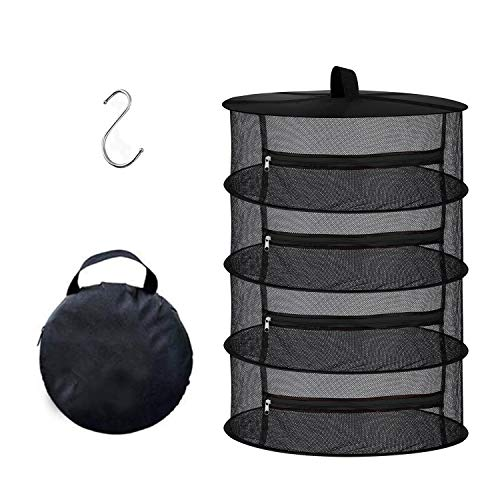 suomei 4 Mesh Layer Hanging Herb Drying Rack Dry Net with Zippers, Black