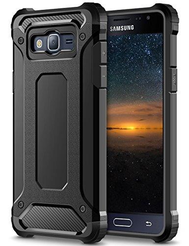 Coolden Samsung Galaxy J5 2016 Hülle, Premium [Armor Serie] Outdoor Stoßfest Schutzhülle Tough Silikon Bumper Militärstandard Handyhülle für Samsung Galaxy J5 DUOS 2016(Schwarz)