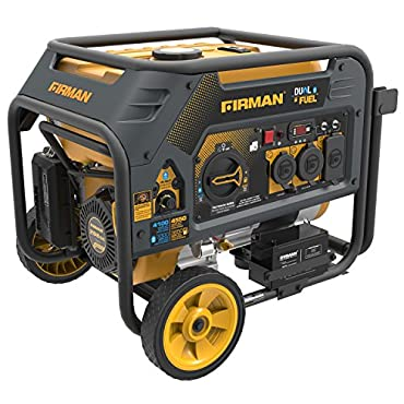 Firman H03651 4550/3650 Watt Electric Start Gas or Propane Dual Fuel Portable Generator CARB and cETL Certified, Yellow
