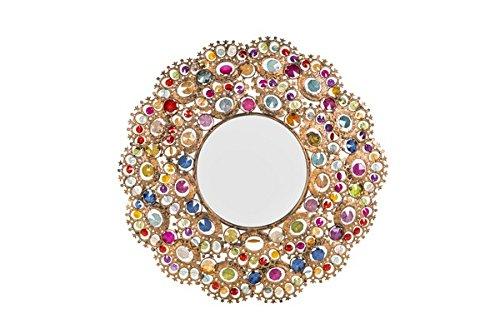 arterameferro Specchio Tondo da Parete in Vetro con Inserti Colorati Etnico Chic