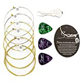 bestwishes Acoustic Guitar Strings,Brass Guitar Strings.010-.048 Guitar Strings Acoustic 6 String Set,3 Guitar Picks And 1 String Changing Tool
