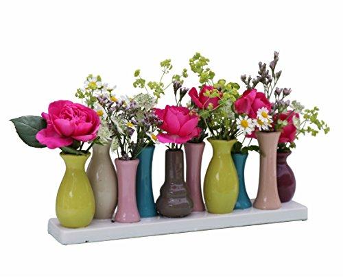 Jinfa Handgefertigte kleine Keramik Deko Blumenvasen Set aus 10 Vasen in bunt
