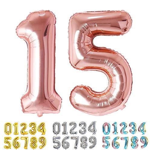 Ponmoo Foil Globo Número 15 51 Oro Rosa, Gigante Numeros 0 1 2 3 4 5 6 7 8 9 10-19 20-29 30 40 50 60 70 80 90 100, Grande Globos para La Boda Aniversario, Globo de Cumpleaños Fiesta Decoración