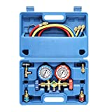 3 Way AC Diagnostic Manifold Gauge Set for Freon Charging, Fits R134A R12 R22 and R502 Refrigerants, with 3FT Hose, Acme Tank Adapters, Quick Couplers and Can Tap