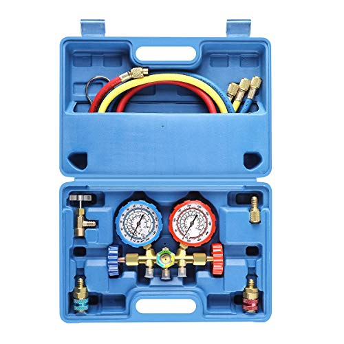 3 Way AC Diagnostic Manifold Gauge Set for Freon Charging, Fits R134A...
