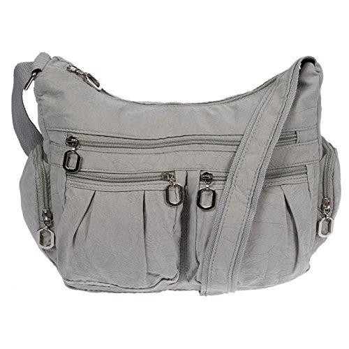 Christian Wippermann Damenhandtasche Schultertasche aus Canvas Hellgrau