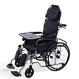 Walker Silla de ruedas Plegable Full Lay Light Silla de ruedas manual con asiento de inodoro Placa de mesa Discapacitados Ancianos Sólidos Sin neumáticos Carro de freno de mano multifunción inflable