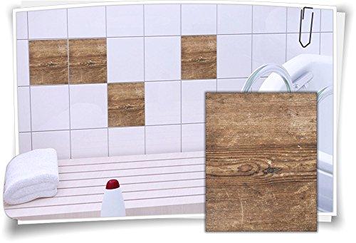 Medianlux Fliesenaufkleber Fliesen Aufkleber Holz Baum Kiefer Fichte Bad WC Küche Kachel Imitat Deko Holzimitat, 8 Stück, 15x20cm