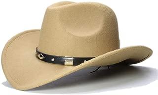 CHENDX High Quality Hat, Fashion Women Men Wool Western Cowboy Hat Advanced Roll-up Wide Brim Cowgirl Jazz Equestrian Sombrero Cap (Color : Khaki, Size : 56-58CM)