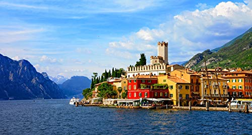Malcesine, Italy - Village & Lake Garda A-9010649 (9x12 Art Print, Wall Decor Travel Poster)