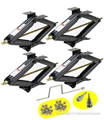 LIBRA Set of 4 5000lbs RV Trailer Stabilizer Leveling Scissor Jacks w/Handle & Dual Power Drill sockets & mounting Hardware