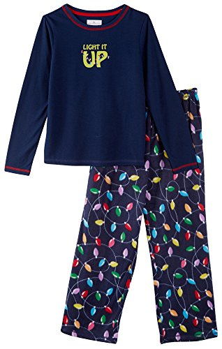 Karen Neuburger Women's 'Get Lit' Family Matching Christmas Holiday Pajama Sets PJ, Kid XS, Multicolor Light Bulbs Blue Combo Pj - Light It Up