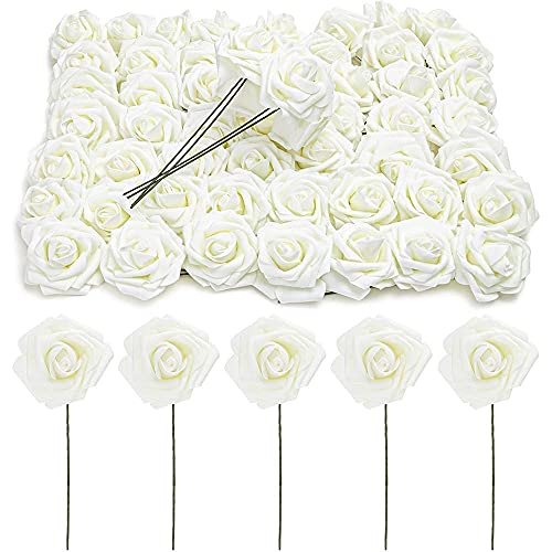 Bright Creations Cream 3-Inch Artificial Rose Flowers Heads with Stems (60 Pack)