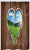 ABAKUHAUS Rustik Schmaler Duschvorhang, Bauernhof Wiese Herz Fenster, Badezimmer Deko Set aus Stoff mit Haken, 120 x 180 cm, Umbrabraun Hellblau Lindgrün