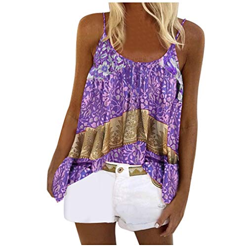 Andouy Damen Camisole O-Ausschnitt Ärmellose Tanktop Sommer Oberteile Bluse Elegant Weste Shirt(L.Lila)