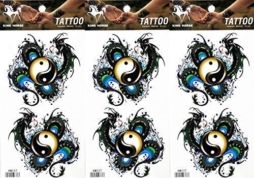 PP TATTOO 3 Sheets Yin yang Chinese Dragon Temporary Tattoos Body Art Tatoos Sticker Sexy Tattoos Fake for Women Men