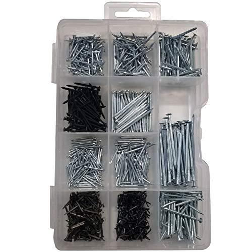 Nails Assortment, Multi-Functional for Hanging, Flat Head Nails, Round Head Nails, Shoe Nails, Panel Nails, Heavy Duty, Tools Needed, Variety of Sizes, 910 Pieces